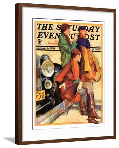 """Women in Riding Habits,"" Saturday Evening Post Cover, January 6, 1934-John LaGatta-Framed Art Print"