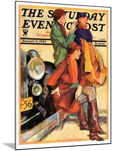 """Women in Riding Habits,"" Saturday Evening Post Cover, January 6, 1934-John LaGatta-Mounted Giclee Print"