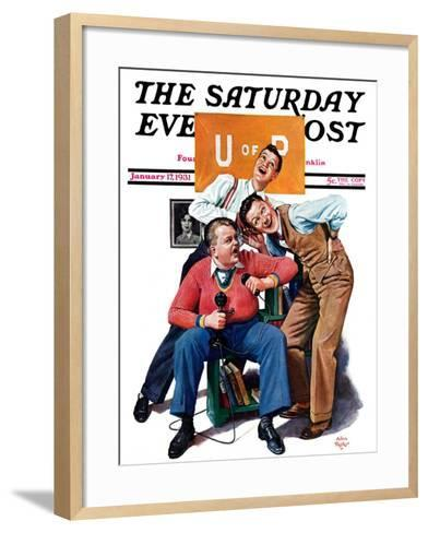 """Phonecall to a Sweetheart,"" Saturday Evening Post Cover, January 17, 1931-Alan Foster-Framed Art Print"