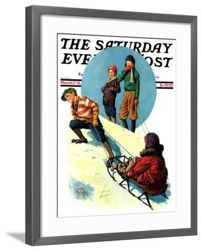 """Uphill Sledding,"" Saturday Evening Post Cover, March 7, 1931-Alan Foster-Framed Art Print"