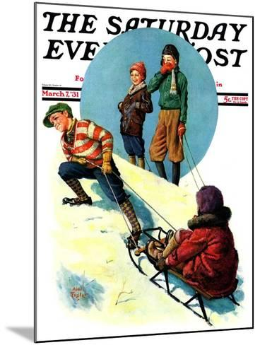 """Uphill Sledding,"" Saturday Evening Post Cover, March 7, 1931-Alan Foster-Mounted Giclee Print"