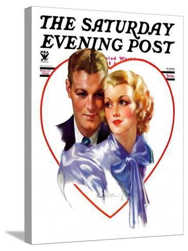"""""""Couple in Heart,"""" Saturday Evening Post Cover, February 17, 1934-Bradshaw Crandall-Stretched Canvas Print"""