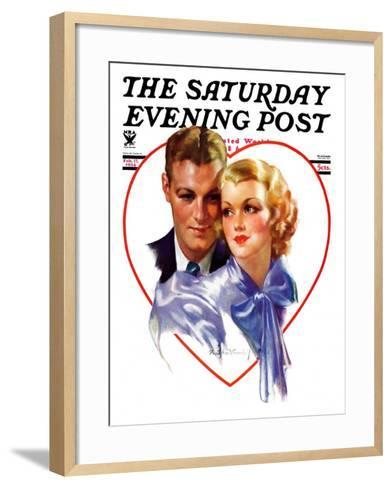 """""""Couple in Heart,"""" Saturday Evening Post Cover, February 17, 1934-Bradshaw Crandall-Framed Art Print"""