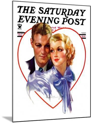 """""""Couple in Heart,"""" Saturday Evening Post Cover, February 17, 1934-Bradshaw Crandall-Mounted Giclee Print"""