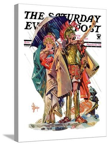 """""""Roman Costumes,"""" Saturday Evening Post Cover, March 10, 1934-Joseph Christian Leyendecker-Stretched Canvas Print"""