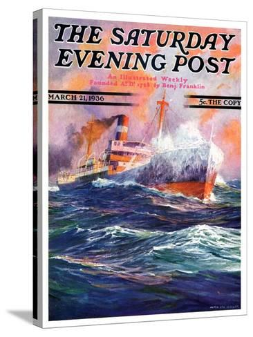 """""""Wave Breaks over Steamer,"""" Saturday Evening Post Cover, March 21, 1936-Anton Otto Fischer-Stretched Canvas Print"""