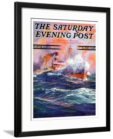 """""""Wave Breaks over Steamer,"""" Saturday Evening Post Cover, March 21, 1936-Anton Otto Fischer-Framed Art Print"""