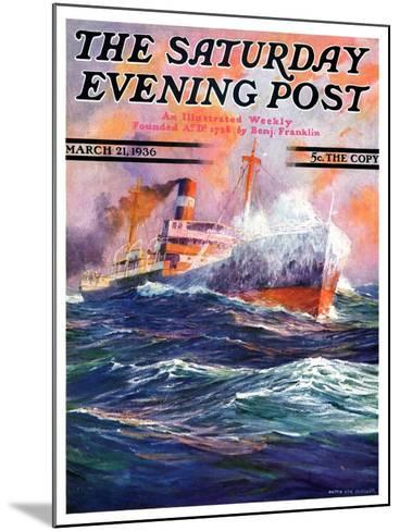 """""""Wave Breaks over Steamer,"""" Saturday Evening Post Cover, March 21, 1936-Anton Otto Fischer-Mounted Giclee Print"""