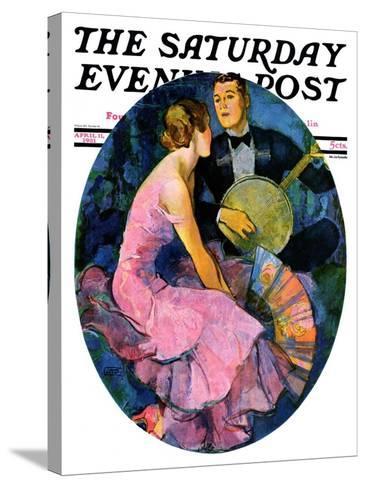 """""""Banjo Serenade,"""" Saturday Evening Post Cover, April 11, 1931-John LaGatta-Stretched Canvas Print"""