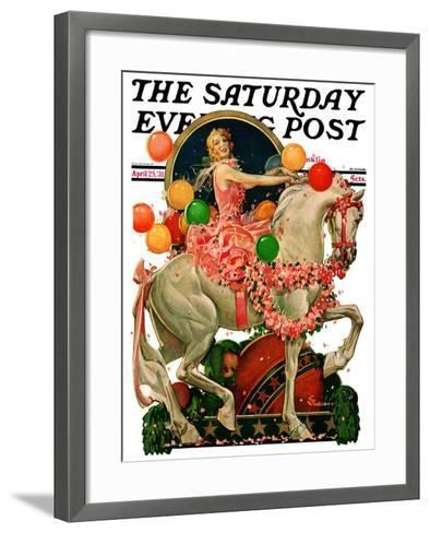 """Circus Bareback Rider,"" Saturday Evening Post Cover, April 25, 1931-Elbert Mcgran Jackson-Framed Art Print"