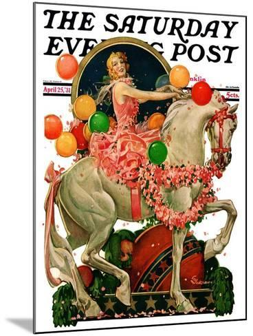 """Circus Bareback Rider,"" Saturday Evening Post Cover, April 25, 1931-Elbert Mcgran Jackson-Mounted Giclee Print"