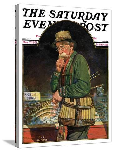 """Fishing at the Market,"" Saturday Evening Post Cover, May 2, 1931-J^F^ Kernan-Stretched Canvas Print"