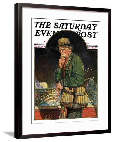 """Fishing at the Market,"" Saturday Evening Post Cover, May 2, 1931-J^F^ Kernan-Framed Art Print"