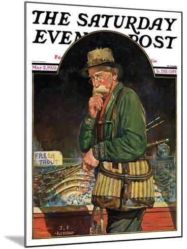 """Fishing at the Market,"" Saturday Evening Post Cover, May 2, 1931-J^F^ Kernan-Mounted Giclee Print"