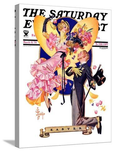 """""""Romantic Easter,"""" Saturday Evening Post Cover, March 31, 1934-Joseph Christian Leyendecker-Stretched Canvas Print"""