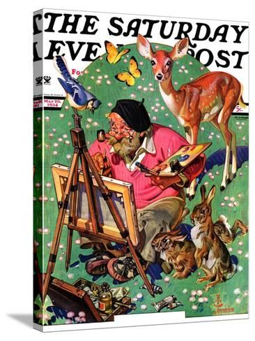"""""""Artist and Animals,"""" Saturday Evening Post Cover, May 26, 1934-Joseph Christian Leyendecker-Stretched Canvas Print"""