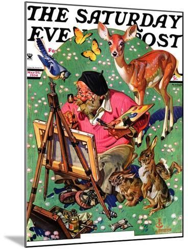 """""""Artist and Animals,"""" Saturday Evening Post Cover, May 26, 1934-Joseph Christian Leyendecker-Mounted Giclee Print"""