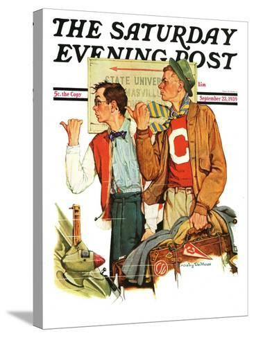 """Hitchhiking to State U.,"" Saturday Evening Post Cover, September 23, 1939--Stretched Canvas Print"