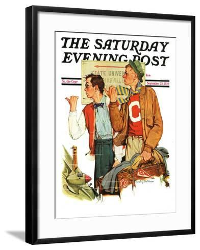 """Hitchhiking to State U.,"" Saturday Evening Post Cover, September 23, 1939--Framed Art Print"
