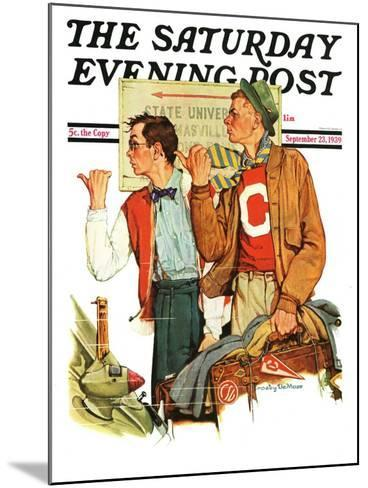 """Hitchhiking to State U.,"" Saturday Evening Post Cover, September 23, 1939--Mounted Giclee Print"