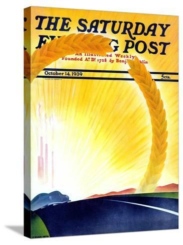 """""""Golden City,"""" Saturday Evening Post Cover, October 14, 1939-H^ Wilson Smith-Stretched Canvas Print"""