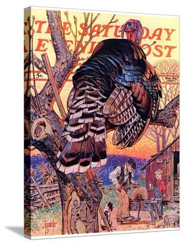 """""""Turkey in the Tree,"""" Saturday Evening Post Cover, November 25, 1939-Joseph Christian Leyendecker-Stretched Canvas Print"""