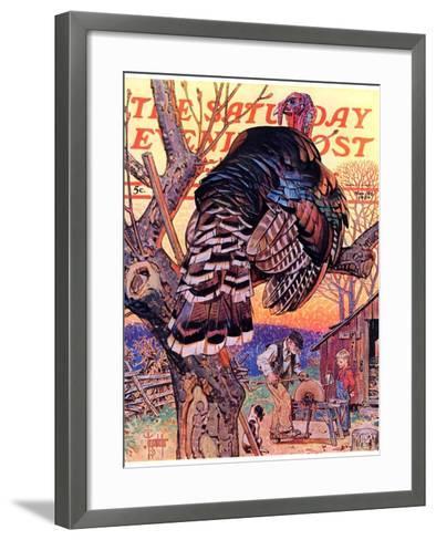 """Turkey in the Tree,"" Saturday Evening Post Cover, November 25, 1939-Joseph Christian Leyendecker-Framed Art Print"