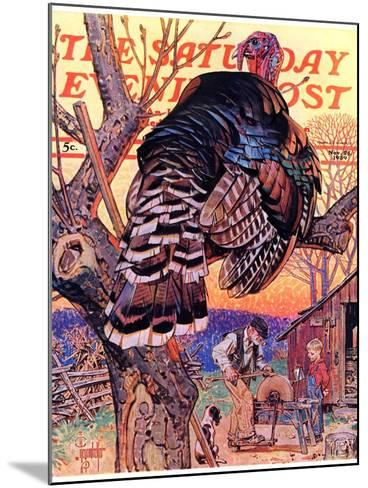 """Turkey in the Tree,"" Saturday Evening Post Cover, November 25, 1939-Joseph Christian Leyendecker-Mounted Giclee Print"