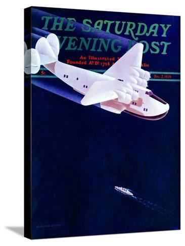 """""""Propeller Plane,"""" Saturday Evening Post Cover, December 2, 1939-H. Wilson Smith-Stretched Canvas Print"""