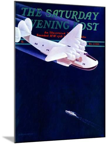 """""""Propeller Plane,"""" Saturday Evening Post Cover, December 2, 1939-H. Wilson Smith-Mounted Giclee Print"""
