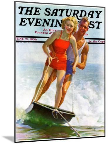 """Ski Boarding Couple,"" Saturday Evening Post Cover, June 27, 1936-Robert C^ Kauffmann-Mounted Giclee Print"
