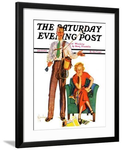 """""""Whose Vacation?,"""" Saturday Evening Post Cover, July 25, 1936-R^J^ Cavaliere-Framed Art Print"""