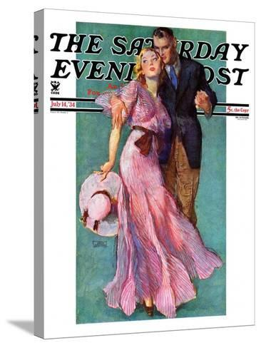 """""""Out on a Date,"""" Saturday Evening Post Cover, July 14, 1934-John LaGatta-Stretched Canvas Print"""