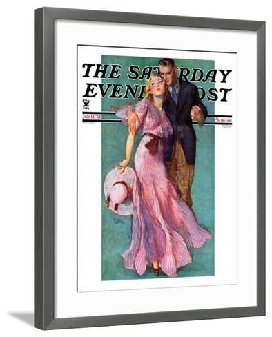 """""""Out on a Date,"""" Saturday Evening Post Cover, July 14, 1934-John LaGatta-Framed Art Print"""