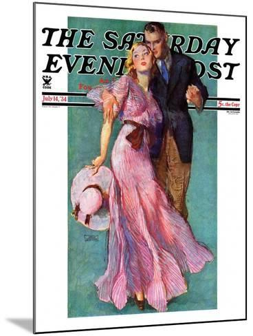 """""""Out on a Date,"""" Saturday Evening Post Cover, July 14, 1934-John LaGatta-Mounted Giclee Print"""