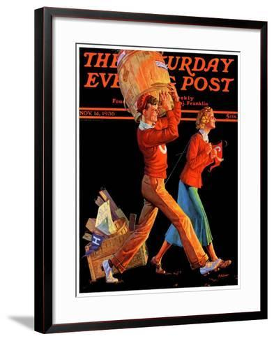 """""""After the Game,"""" Saturday Evening Post Cover, November 14, 1936-Monte Crews-Framed Art Print"""