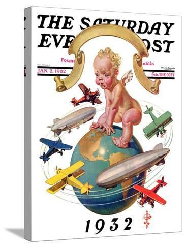 """""""Airships Circling Baby New Year,"""" Saturday Evening Post Cover, January 2, 1932-Joseph Christian Leyendecker-Stretched Canvas Print"""