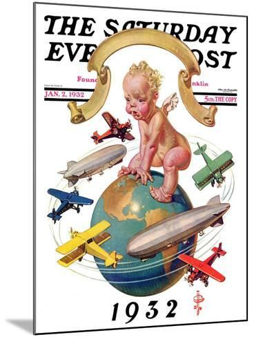 """""""Airships Circling Baby New Year,"""" Saturday Evening Post Cover, January 2, 1932-Joseph Christian Leyendecker-Mounted Giclee Print"""