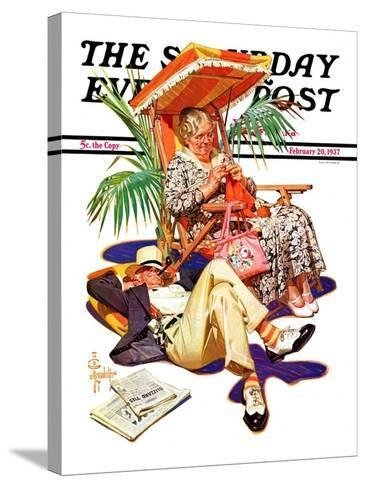 """""""Retired Couple at Beach,"""" Saturday Evening Post Cover, February 20, 1937-Joseph Christian Leyendecker-Stretched Canvas Print"""