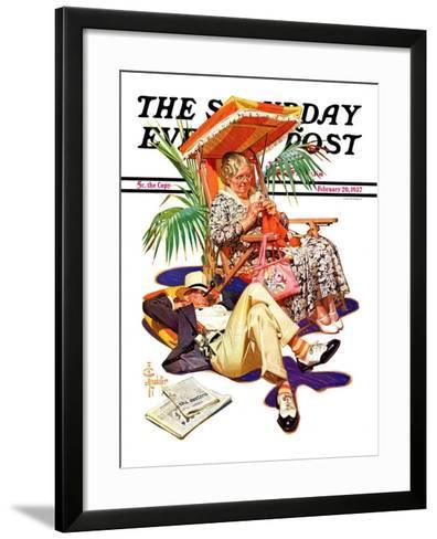 """Retired Couple at Beach,"" Saturday Evening Post Cover, February 20, 1937-Joseph Christian Leyendecker-Framed Art Print"