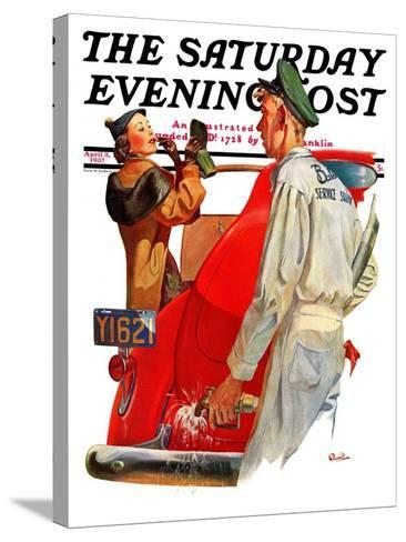 """""""Fill'er Up,"""" Saturday Evening Post Cover, April 3, 1937-McCauley Conner-Stretched Canvas Print"""