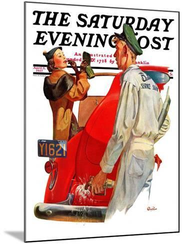 """""""Fill'er Up,"""" Saturday Evening Post Cover, April 3, 1937-McCauley Conner-Mounted Giclee Print"""