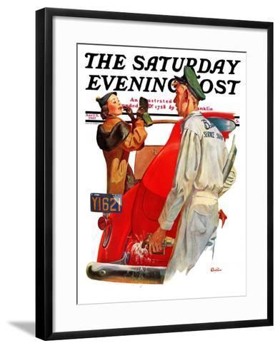 """Fill'er Up,"" Saturday Evening Post Cover, April 3, 1937-McCauley Conner-Framed Art Print"