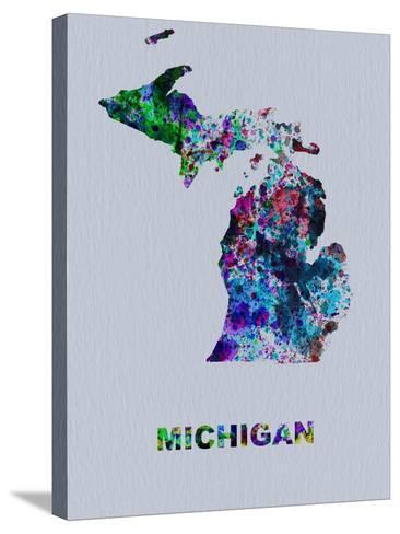 Michigan Color Splatter Map-NaxArt-Stretched Canvas Print
