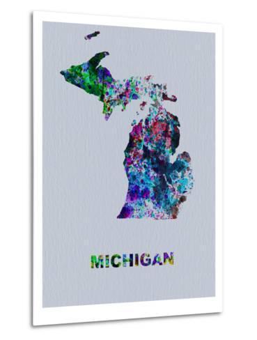 Michigan Color Splatter Map-NaxArt-Metal Print
