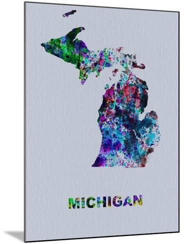 Michigan Color Splatter Map-NaxArt-Mounted Art Print