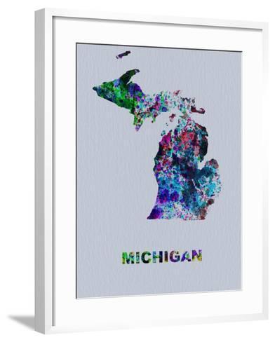 Michigan Color Splatter Map-NaxArt-Framed Art Print