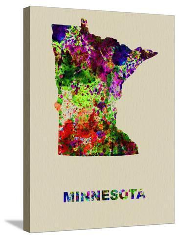 Minnesota Color Splatter Map-NaxArt-Stretched Canvas Print