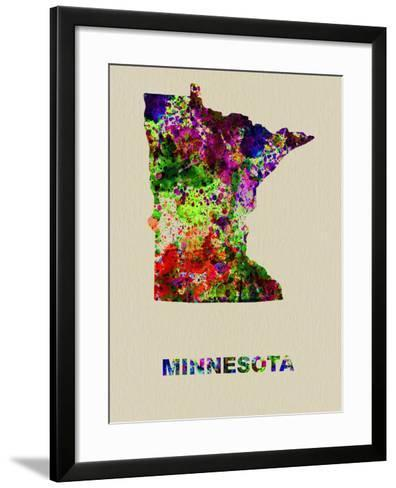 Minnesota Color Splatter Map-NaxArt-Framed Art Print