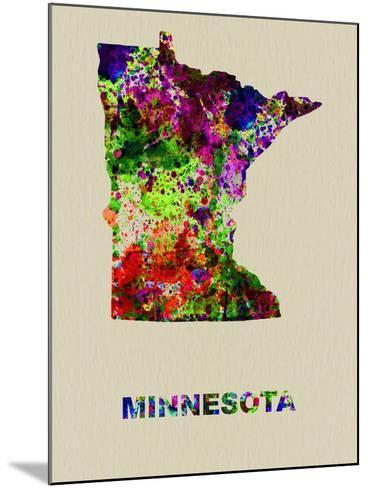 Minnesota Color Splatter Map-NaxArt-Mounted Art Print